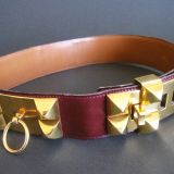 Authentic Ceinture Hermes Vintage Collier De Chien Cuir quotmedor quotCalf Leather Belt Size 70