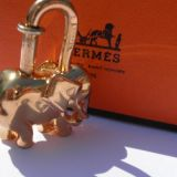 Authentic Hermes 1988 Elephant Cadena Lock Charm