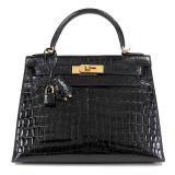 Authentic Hermes 28 Cm Black Crocodile Kelly