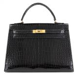 Authentic Hermes 32 Cm Vintage Black Crocodile Kelly