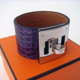 Authentic Hermes Amethyst Crocodile Kelly Dog Cuff Bracelet Phw