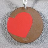 Authentic Hermes Barenia Heart Leather Silver Key Chain