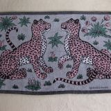 Authentic Hermes Beach Towel Leopards Gray Pink