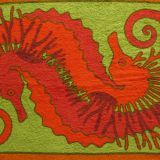 Authentic Hermes Beach Towel Seahorse orange Green