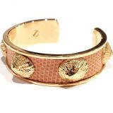 Authentic Hermes Beige Lizard X Gold Bangle Bracelet Rare Pristine