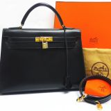 Authentic Hermes Black Box Calf 32cm Kelly Bag Complete Set Excellent