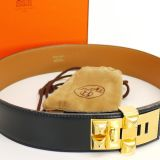 Authentic Hermes Black Box Calf Collier De Chien Belt 65 Rare