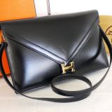 Authentic Hermes Black Box Calf Lydie Mint