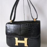 Authentic Hermes Black Crocodile Constance 23cm Rare
