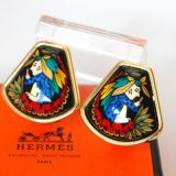 Authentic Hermes Black Enamel Indian Design Clip On Earrings