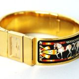 Authentic Hermes Black Enamel Wide Bangle Watch Bracelet K18 Gp