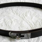 Authentic Hermes Black Kelly Belt With Palladium Hardware New 75cm 30 Inches