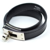 Authentic Hermes Black Leather Kelly Double Bracelet For Cadena F