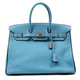 Authentic Hermes Blue Jean Togo Leather 35 Cm Birkin Bag