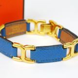 Authentic Hermes Blue Leather Goldtone Bracelet Bangle