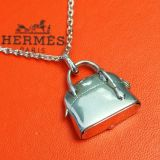 Authentic Hermes Bolide Bag Pill Case Pendant Necklace Silver 925