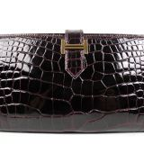 Authentic Hermes Bordeaux Crocodile Bearn Wallet New