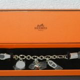 Authentic Hermes Breloque Charm Bracelet In Silver Tone Hardware New