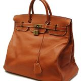 Authentic Hermes Brown Buffle Leather Hac Birkin 45 Rare 1996