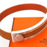Authentic Hermes Brown Leather Bangle Bracelet Pousse Pousse