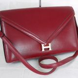 Authentic Hermes Burgundy Box Calf Lydie Rare Vintage