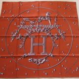 Authentic Hermes Carre Vif Argent Silk Scarf