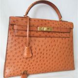 Authentic Hermes Chestnuts Brown Ostrich Kelly Bag32 Rare