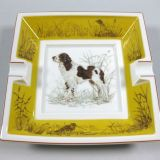 Authentic Hermes Chien Porcelain Ashtray English Springer Spaniel