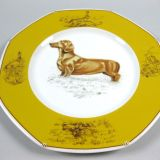 Authentic Hermes Chien Porcelain Dinnerware Dessert Plate Dachshund