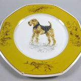 Authentic Hermes Chien Porcelain Dinnerware Dish Airedale Terrier