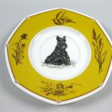 Authentic Hermes Chien Porcelain Dinnerware Saucer Scottish Terrier