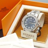 Authentic Hermes Clipper Mens Divers Watch Qz Ss 3300