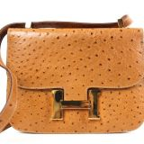 Authentic Hermes Cognac Ostrich Constance Bag