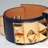 Authentic Hermes Collier De Chien C D C Black Gold Hardware