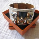 Authentic Hermes Collier De Chien Cdc Bracelet White Epsom Phw