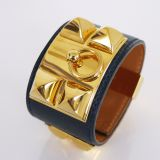 Authentic Hermes Collier De Chien Cuff Bracelet Navy Blue Courchevel Vintage