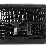 Authentic Hermes Constance Shiny Black Alligator Wallet New