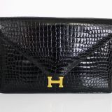 Authentic Hermes Crocodile Porosus Lydie 2way Handbag Clutch Bag Rare