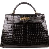 Authentic Hermes Ebene Niloticus Crocodile 32 Cm Kelly Bag New