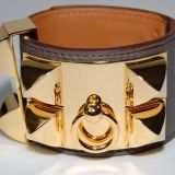 Authentic Hermes Etain Swift Collier De Chien Cuff G H W