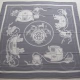 Authentic Hermes Ex Libris Cashmere Silk Stole Gray