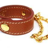 Authentic Hermes Glove Holder Brown Leather Goldtone Chain