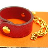 Authentic Hermes Glove Holder Red Leather Gold Chain