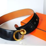 Authentic Hermes Goldtone Buckle Black Leather Wide Girdle Belt