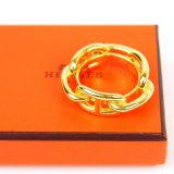 Authentic Hermes Goldtone Chaine D 039ancre Scarf Ring Pendant