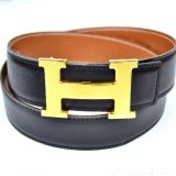 Authentic Hermes Goldtone H Buckle Belt 78 Reversible Leather