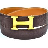 Authentic Hermes Goldtone H Buckle Belt 85 Reversible Leather