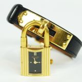 Authentic Hermes Goldtone Kelly Wrist Watch Black Leather Belt