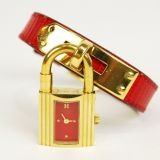 Authentic Hermes Goldtone Kelly Wrist Watch Red Lizard Skin Belt