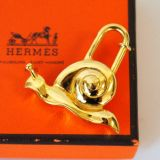 Authentic Hermes Goldtone Snail Cadena Lock Charm Pendant 1995